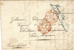 """1861- Lettre Avec Cursive """" Grand Chevalier / De La Légion D'Honneur + Contrôle Paris / Son Des Contre-Seings Rouge - Marcophilie (Lettres)"""