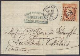 Chalais (Charente) : LAC, GC 838 Sur Siège N°38, Càd 16, 1874. - Marcophilie (Lettres)