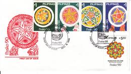 Filippine Philippines Philippinen Pilipinas 1990 Christmas Holiday Lanterns 1p X 4 Se-tenant + 5p50 - FDC (see Photo) - Philippines