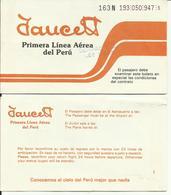 FAUCETT - Billet/Ticket Passager - 1988 - AREQUIPA / CUZCO - Tickets