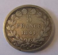 France - Monnaie Argent 5 Francs Louis Philippe 1841 W - TTB+ - France