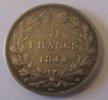 France - Monnaie Argent 5 Francs Louis Philippe 1844 W - TTB++ - France