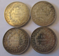 """France - 4 Monnaies Argent 10 Francs 1965 / 1967 (variété Avec Accent Sur Le """"E"""" De République) / 1970 - SUP/SPL - France"""
