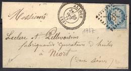 Alloue (Charente) : LAC, GC 68 Sur Cérès N°60, Càd 24, 1871, Signée Baudot, - Marcophilie (Lettres)