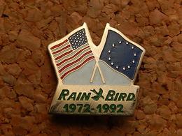 Pin's -  DRAPEAU ETAT UNIS - EUROPE - RAIN BIRD - Badges