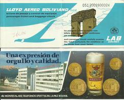LLOYD AEREO BOLIVIANO - Billet/Ticket Passager - 1988 - LA PAZ / LIMA - Tickets
