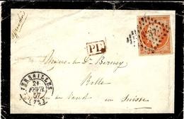1857- Petite Env. De Deuil De Versailles  Affr. N°16 ( 4 Marges ) Oblit. Pc 3537 Pour La Suisse - Marcophilie (Lettres)