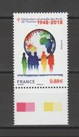 FRANCE / 2018 / Y&T N° 5290 ** : Déclaration Universelle Des Droits De L'homme BdF Bas - Gomme D'origine Intacte - Neufs