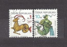 Czech Republic 1998 Gest ⊙ Mi 199-200 Sc 3063-3064 Tierkreiszeichen Zodiac Capricorn An Aquarius C6 - Tchéquie
