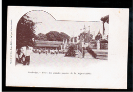 CAMBODIA  Cambodge Fetes Des Grandes Pagodes De Sa Majeste Ca 1910 OLD POSTCARD 2 Scans - Cambodia