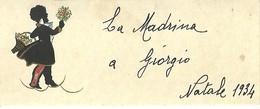 """1980 """" BIGLIETTO AUGURALE ANNI '30 - FIGURA IN NERO PORTATRICE DI FIORI-NATALE 1934 """" BIGLIETTO ILLUSTRATO ORIGINALE - Vecchi Documenti"""
