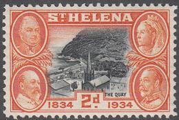 ST. HELENA    SCOTT NO.  104    MINT HINGED     YEAR  1934 - Grande-Bretagne (ex-colonies & Protectorats)
