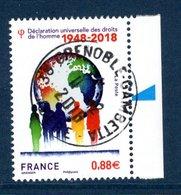 France 2018.Déclaration Universelle Des Droits De L'homme.Cachet Rond Gomme D'origine. - France