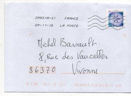 """2018--tp Adhésif """"flocon De Neige"""" --en Microscopie Optique  Seul Sur Lettre - Marcophilie (Lettres)"""