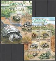 WW226 2013 NIGER FAUNE NIGER MARINE LIFE TURTLES LES TORTUES KB+BL MNH - Turtles