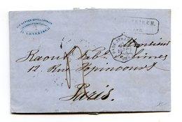 Bade - Lettre De Lenskirch Pour Paris 1856 - Convoyeur Bade Strasb. AMB. B - 2 Scans - (W1096) - Baden