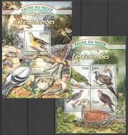 WW229 2013 NIGER FAUNE NIGER BIRDS DOVES LES COLOMBES KB+BL MNH - Oiseaux