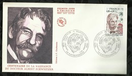 CENTENAIRE DE LA NAISSANCE DU DOCTEUR ALBERT SCHWEITZER . 11 JANVIER 1975 . KAYSERSBERG . - FDC