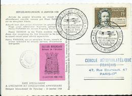 CACHET + VIGNETTE CINQUANTENAIRE Du Kilometre Bouclé Par Farman ISSY LES MOULINEAUX - Marcophilie (Lettres)