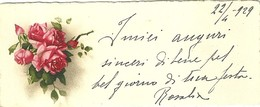 """1989 """" BIGLIETTO AUGURALE - ANNI '20 - RAMETTO DI ROSE -  22 APRILE 1929 """" BIGLIETTO ILL. ORIG. - Vieux Papiers"""