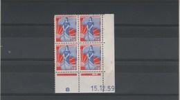 Yvert N° 1234 ** Neufs Sans Charnières   Coin Daté 15/12/1959 - 1950-1959