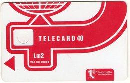 Corps De Carte Epreuve Malte Malta Telemalta Lm2 Telecard 40 Encoche Inversée Au Dos - Malte