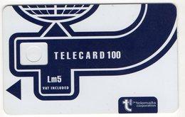 Corps De Carte Epreuve Malte Malta Telemalta Lm5 Telecard 100 Encoche Inversée Au Dos - Malte