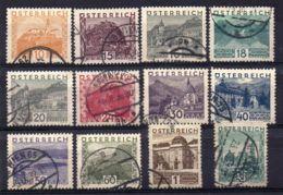 AUTRICHE ( POSTE ) : Y&T N°  378/389  TIMBRES  TRES  BIEN  OBLITERES . - 1918-1945 1ère République