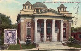 CPA -San Antonio, Texas. Central Christian Church-1914- 2scans - San Antonio