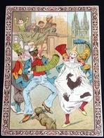 Lille Belle Jardiniere Belle Chromo Grand Format Papier Fin Brillant Carnaval Bal Masqué Pompier Clown Noir  Bandoneon - Kaufmanns- Und Zigarettenbilder