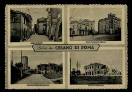 B9611 SALUTI DA CESANO DI ROMA - BORGO DI SOTTO PIAZZA CARAFFA STAZIONE CARABINIERI E SCUOLE E STAZIONE B\N VG 1955 - Altre Città