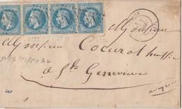 N° 29A (12- 3 Bdes De 4 Horizontales )/2  L Et Un DVT.  (. ) GC L.847-1415-4007  De CVhambly-TRAPPES & ... Sion / Len 1 - Marcophilie (Lettres)