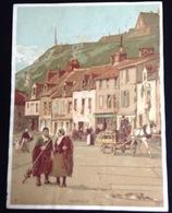 Granville Place Maison Charrette  Belle Chromo Grand Format Papier Fin Vallet Minot 18 Cmx13,5 Cm - Kaufmanns- Und Zigarettenbilder