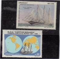 "V17 - URUGUAY 1114 Et1249 **MNH De 1982 Et 1988 - GRAND VOILIER - "" R.O.U. "" CAPITAN MIRANDA "" - Uruguay"