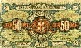 Banca Popolare Di Alessandria 1870 - Billet Fiduciaire De 50 Centimes - Italie - [ 1] …-1946 : Royaume