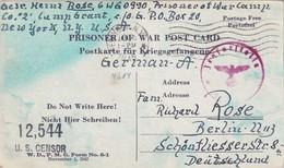 USA 1944 CARTE CENSUREE  DE PRISONNIER DE GUERRE DE NEW-YORK - Etats-Unis