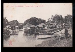 CAMBODIA  Cambodge Phnom Penh Village Lacustre Ca 1910 OLD POSTCARD 2 Scans - Cambodia