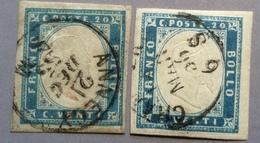 Sardegna TINTE RARI DEL 1855 20c Sa. 15 CHAMBERY ANNECY SAVOIA (Sardaigne Italie France Comté De Savoie Italy Italia - Sardinia