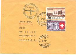 Schweiz Suisse 1939: Pro Aero Meldeflug Zur LANDESAUSSTELLUNG Zürich Zu 213+219 Mi 323+335 Yv 309+326 >  CHUR 6.V.39 - Poste Aérienne