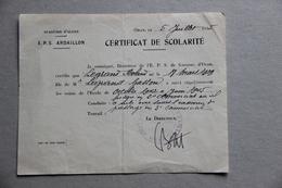 Certificat De Scolarité, E.P.S. Ardaillon à Oran, Académie D'Alger (Algérie), 1945 - Diplômes & Bulletins Scolaires