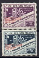 SAINT-MARIN ( POSTE ) : Y&T N°  233A/233B  TIMBRES  NEUFS  AVEC  TRACE  DE  CHARNIERE . - Saint-Marin