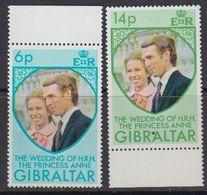 Gibraltar 1973 Wedding Princess Anne 2v ** Mnh (41485G) - Gibraltar