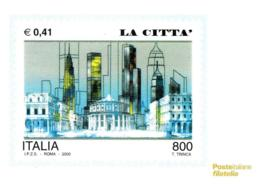 [MD2438] CPM - RIPRODUZIONE FRANCOBOLLO POSTE ITALIANE - AVVENTO ANNO DUEMILA - LA CITTA' - Non Viaggiata - Timbres (représentations)