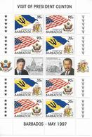 BARBADOS - 1997 - SERIE COMPLETE CLINTON ** MNH  - YVERT 960/961 EN FEUILLET - COTE = 10 EUR. - Barbades (1966-...)