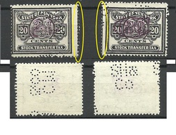 USA State Of New York Stock Transfer Tax , 20 Cents, Perforation Varieties, Used - Revenues