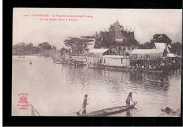 CAMBODIA  Cambodge Phnom Penh La Pagode De Kompong- Chang, Vue Du Bateau Allant A Angkor Ca 1910 OLD POSTCARD 2 Scans - Cambodia