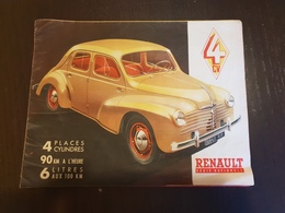 Dépliant Publicitaire Voiture Renault 4 Cv Plaquette Publicité - Advertising