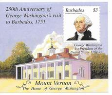 BARBADOS - 2001 - BLOC WASHINGTON ** MNH  - YVERT 43 - - Barbades (1966-...)