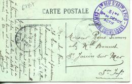 N°67837- Cachet 1er Régiment D'artillerie à Pied -51è  Br De Depôt Actif- - Marcophilie (Lettres)