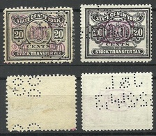 USA State Of New York Stock Transfer Tax 20 Cents, 2 Different Types /color Varieties, Used - Revenues